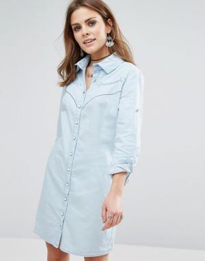 Liquorish Джинсовое платье-рубашка с длинным рукавом. Цвет: синий