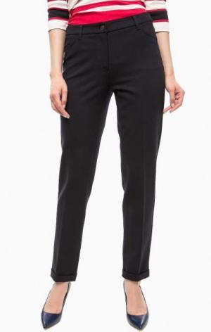 Темно-синие брюки из вискозы с карманами olsen. Цвет: синий