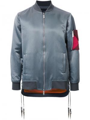 Куртка бомбер с отделкой на рукаве Yoshio Kubo. Цвет: зелёный