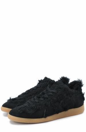 Замшевые кроссовки с декоративной отделкой Maison Margiela. Цвет: черный