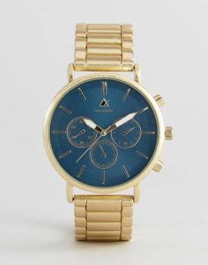 ASOS Золотистые часы-браслет с темно-зеленым циферблатом. Цвет: золотой