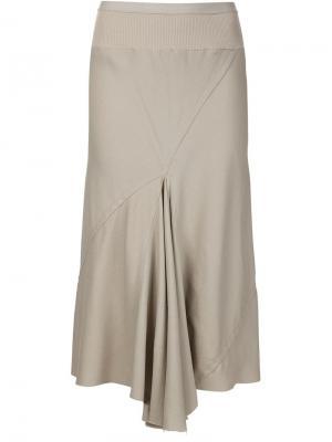 Драпированная юбка-миди Rick Owens. Цвет: телесный