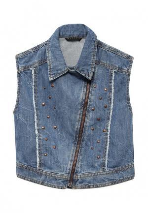 Жилет джинсовый Sisley. Цвет: голубой