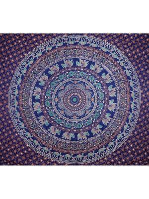 Покрывало декоративное набивное ETHNIC CHIC. Цвет: синий, светло-коралловый, серо-голубой