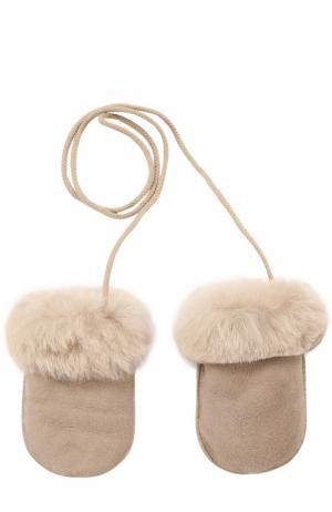 Кожаные варежки с отделкой мехом Petit Nord. Цвет: светло-розовый