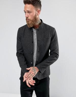 Selected Homme Приталенный блейзер с добавлением шерсти и воротником в восточном стил. Цвет: серый
