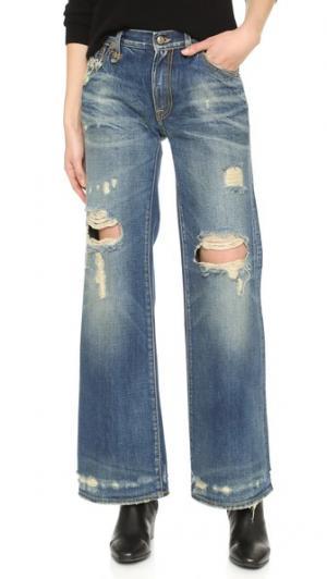 Широкие джинсы Jane R13. Цвет: голубое диско