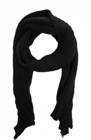 Вязаный шарф-накидка с молнией Ann Demeulemeester. Цвет: черный