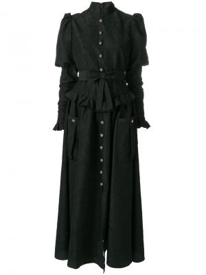 Длинное платье  клоке Alessandra Rich. Цвет: чёрный