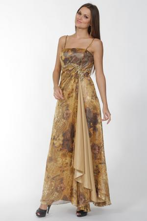 Вечернее платье с открытыми плечами Mona Kalin. Цвет: бежевый, коричневый