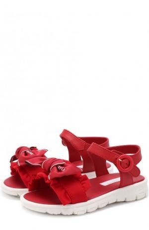 Кожаные сандалии с текстильной отделкой и бантом Dolce & Gabbana. Цвет: бордовый