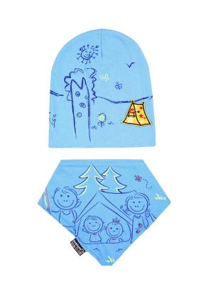 Комплект детский-шапка/косынка Оланж Ассорти. Цвет: голубой