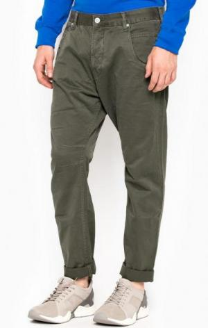 Хлопковые зауженные брюки ALCOTT. Цвет: хаки