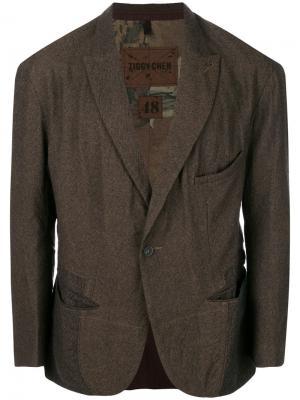 Пиджак на пуговицах Ziggy Chen. Цвет: коричневый