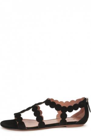 Замшевые сандалии на плоской подошве Alaia. Цвет: черный