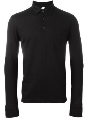 Рубашка-поло с длинными рукавами Aspesi. Цвет: чёрный