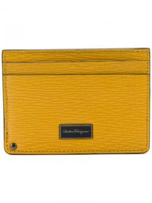 Кошелек для карт с логотипом Salvatore Ferragamo. Цвет: жёлтый и оранжевый