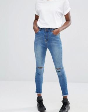 Liquor & Poker Укороченные зауженные джинсы с высокой талией. Цвет: синий