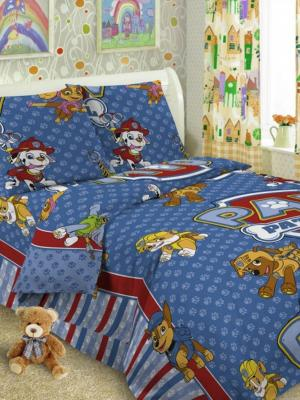 Детский комплект постельного, 1,5-спальный, наволочка 50*70, хлопок Letto. Цвет: синий, красный