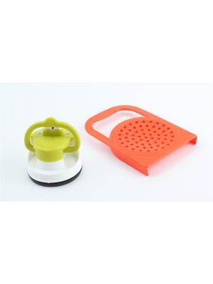 Точилка на присоске и крышка для слива с ручкой Радужки. Цвет: оранжевый, салатовый
