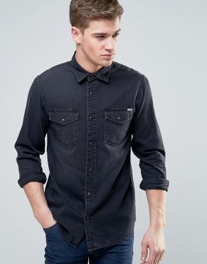Jack & Jones Джинсовая рубашка в стиле вестерн Vintage. Цвет: черный