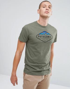 Patagonia Серая меланжевая футболка. Цвет: зеленый