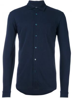 Рубашка L/S Pique Sunspel. Цвет: синий
