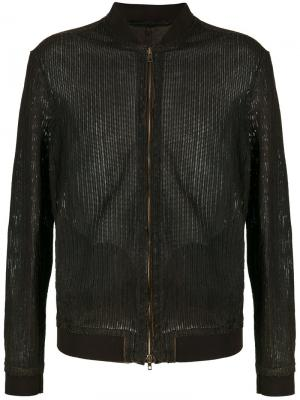Кожаная куртка-бомбер Salvatore Santoro. Цвет: коричневый