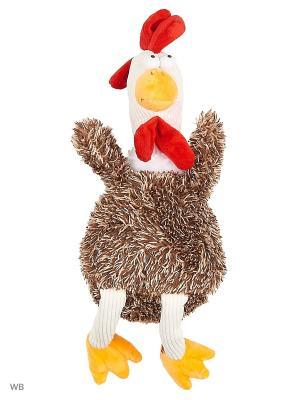 Мягкая игрушка Петушок, 25см А М Дизайн. Цвет: темно-коричневый, терракотовый, красный, оранжевый, белый, черный