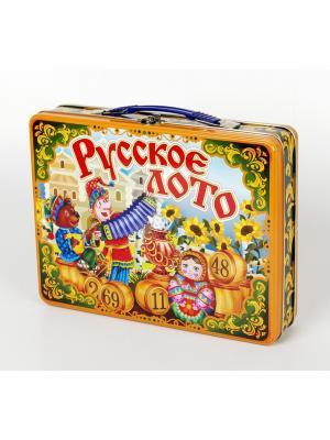 Лото Русское Скоморохи (жестяной чемоданчик) Десятое королевство. Цвет: желтый, зеленый, красный