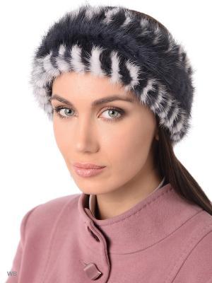 Повязка на голову Ваша Шляпка. Цвет: темно-серый, белый