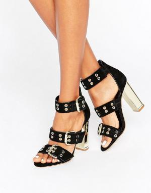 Office Замшевые сандалии на каблуке с ремешками и люверсами Shots. Цвет: черный