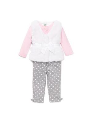 Комплект Миледи Little Me. Цвет: серый, белый, розовый