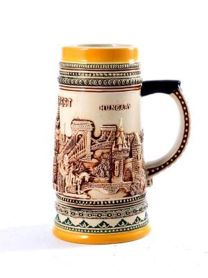 Пивная кружка коллекционная Будапешт BURGER. Цвет: коричневый, оранжевый, темно-бежевый