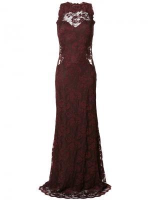 Платье с кружевной вышивкой Olvi´S. Цвет: красный