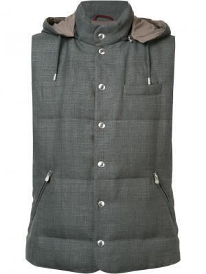 Стеганый жилет с капюшоном Brunello Cucinelli. Цвет: серый
