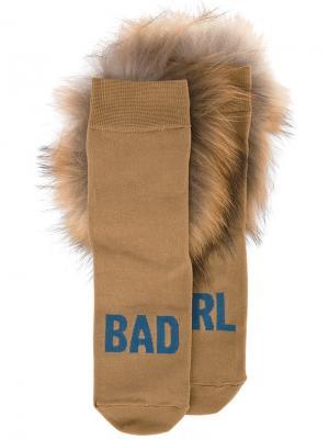 Носки с мехом Hysteric Glamour. Цвет: коричневый