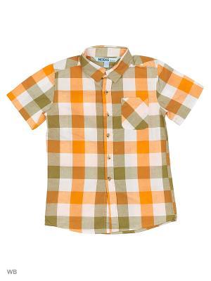 Рубашка Modis. Цвет: белый, зеленый, оранжевый