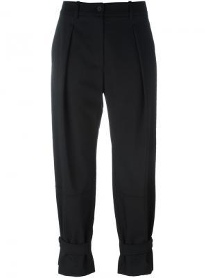 Укороченные брюки со складками Jil Sander Navy. Цвет: чёрный