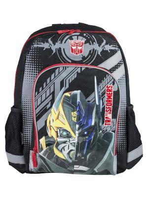 Рюкзак, мягкая cпинка. Transformers Prime. Цвет: голубой, желтый, красный, черный