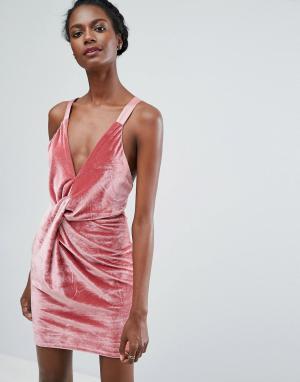 Endless Rose Бархатное платье мини с перекрутом. Цвет: розовый