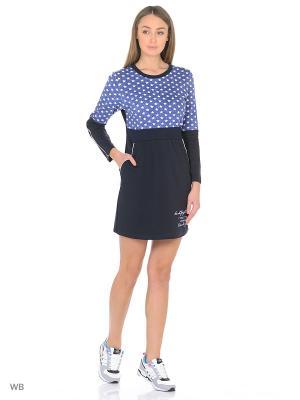 Платье-туника MARSOFINA. Цвет: синий, белый