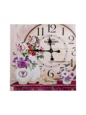 Часы настенные Прованс Jia Cheng. Цвет: темно-фиолетовый, розовый, светло-серый