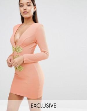 Rare Облегающее платье с золотистой отделкой London. Цвет: розовый