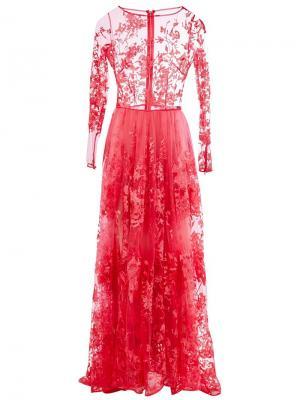 Вечернее платье с вышивкой Zuhair Murad. Цвет: розовый и фиолетовый