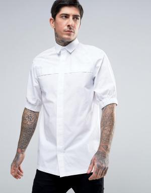 Rogues of London Рубашка скинни с эластичными манжетами. Цвет: белый
