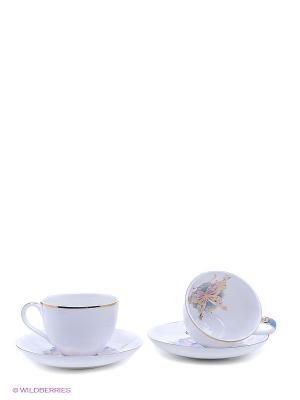 Чайный набор Песня Мотылька Pavone. Цвет: белый, голубой