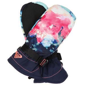 Варежки сноубордические женские  Jetty Se Mitt Neon Grapefruit Roxy. Цвет: синий,розовый,мультиколор