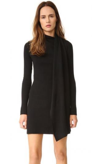 Шерстяное платье-халат с драпировкой EDUN. Цвет: голубой