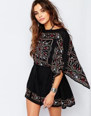 Free People Полупрозрачное платье с вышивкой Frida. Цвет: черный
